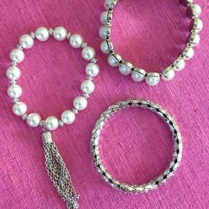 Wish Jewelry - Beautiful Pearl & Silver Bangle Bracelets